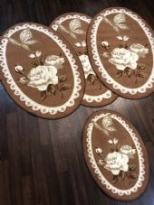 ROMANY GYPSY WASHABLES NON SLIP SET OF 4 MATS/RUGS BROWN/CREAM GREAT THICK MATS